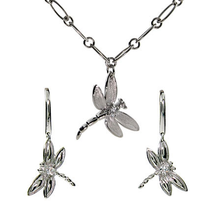 Tiffany Inspired Dragonfly Link Necklace and Earring Set