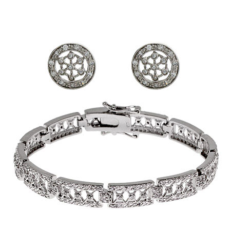 Sterling Silver CZ Celestial Bracelet and Earring Set