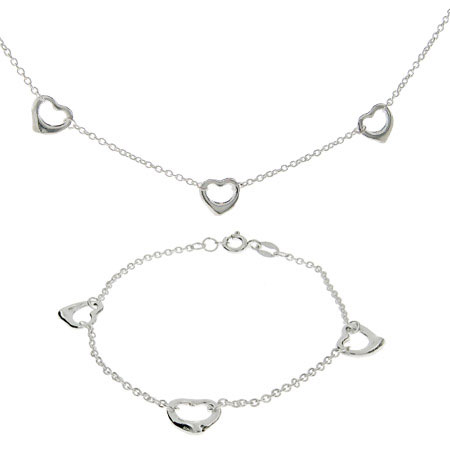 Sterling Silver Triple Hearts Bracelet and Necklace Set