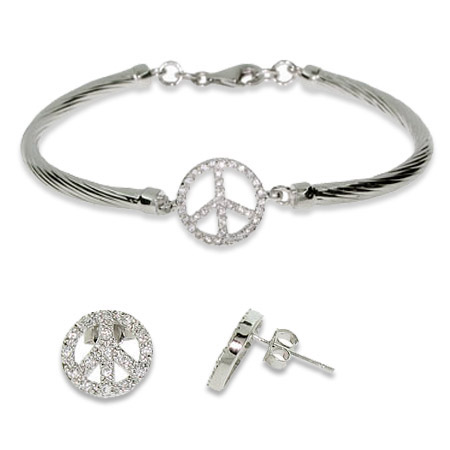 CZ Peace Sign Bracelet and Earrings Set