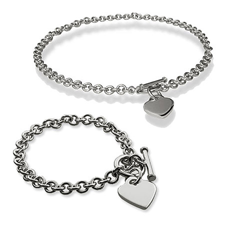 Tiffany Inspired Heart Tag Bracelet and Necklace Set