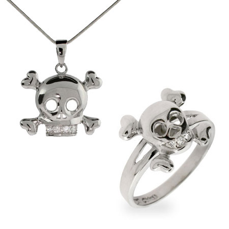 Skull Necklace and Ring Set