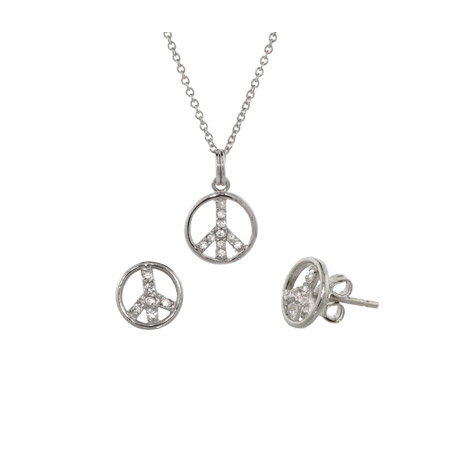 Petite Sterling Silver CZ Peace Sign Pendant and Matching Stud Earrings
