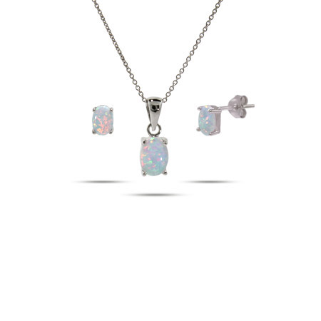 Beautiful Sterling Silver Oval Opal Solitare Pendant & Earring Set