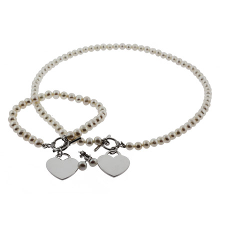 Tiffany Inspired Pearl Heart Tag Necklace and Bracelet Set