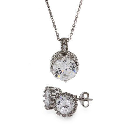 Jessica's Crown Solitaire Pendant and Earring Set