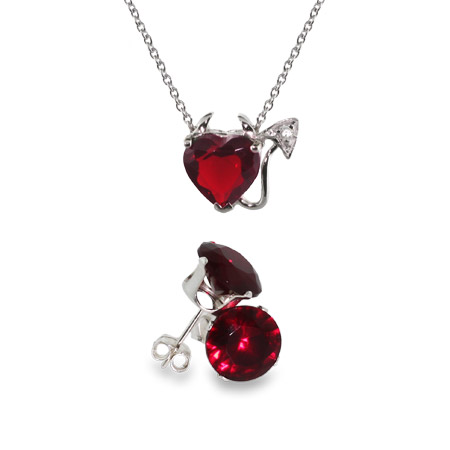 Sterling Silver CZ Devilish Heart Pendant and Ruby Stud Set
