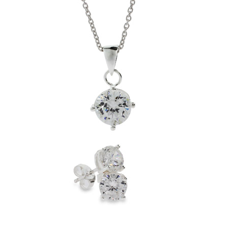 Glittering Silver Round Brilliant Cut CZ Pendant and Studs Set