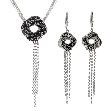 Algerian Love Knot Bond Girl Necklace and Earring Set