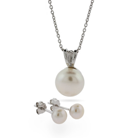 Freshwater Pearl Sterling Silver Pendant and Earring Set
