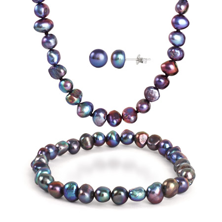 8mm Black Freshwater Pearl Necklace, Bracelet, and Earring Set