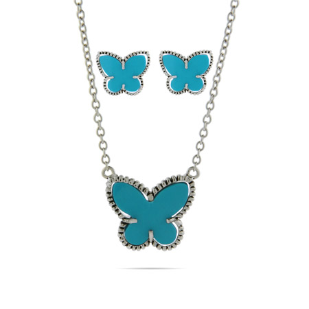 Designer Inspired Turquoise Butterfly Earrings and Necklace Set