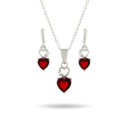 Delicate Red CZ Heart Earring and Necklace Set