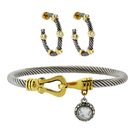 Bezel Studded Cable Earrings and Bracelet Set