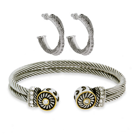 Crossover CZ Cable Earrings and Bracelet Set