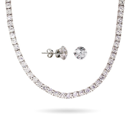 Brilliant Cut CZ Silver Tennis Necklace and Earring Set