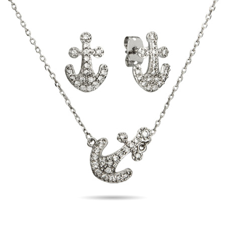 Sterling Silver Sideways Pave CZ Anchor Necklace and Earrings Set