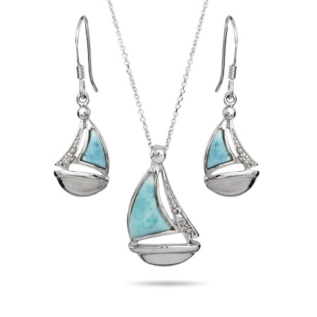 Sterling Silver Larimar and CZ Sailboat Earrings and Necklace Set
