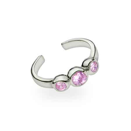 Pink Cubic Zirconia Sterling Silver Toe Ring