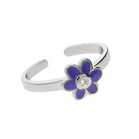 Blue Enamel CZ Flower Sterling Silver Toe Ring