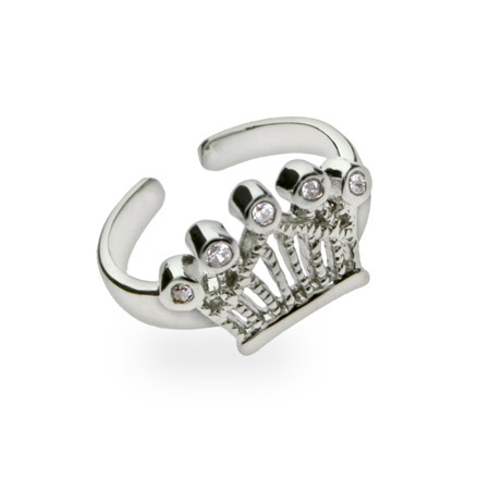 Sterling Silver Crown Jewels Cubic Zirconia Toe Ring