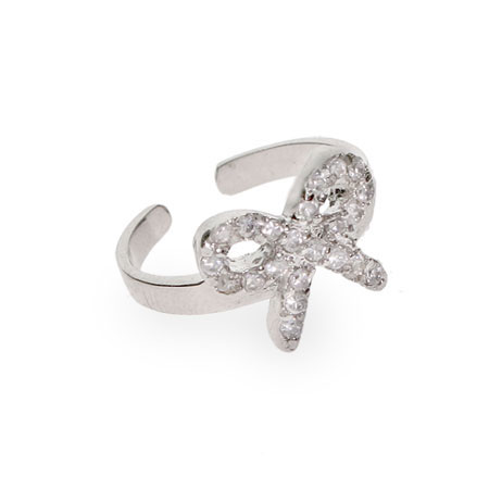 Gabys Sterling Silver CZ Bow Toe Ring