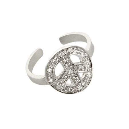 Cubic Zirconia Peace Sign Silver Toe Ring