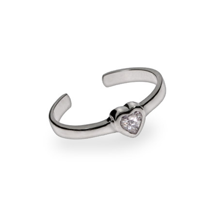 Mini CZ Heart Sterling Silver Toe Ring