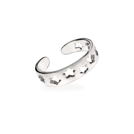 Sterling Silver Band of Stars Toe Ring