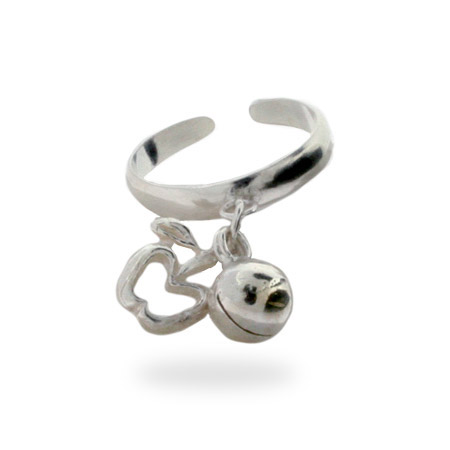 Sterling Silver Apple Charm Toe Ring