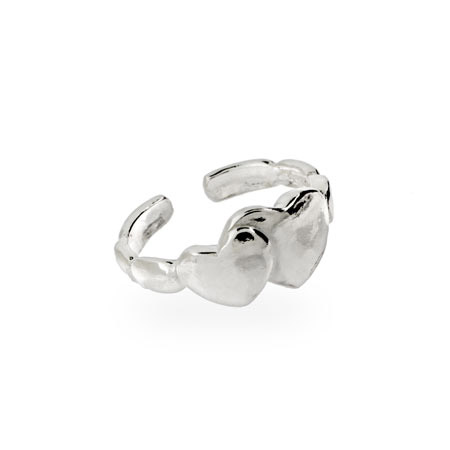 Sterling Silver Double Heart Toe Ring
