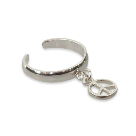 Sterling Silver Dangle Peace Sign Toe Ring