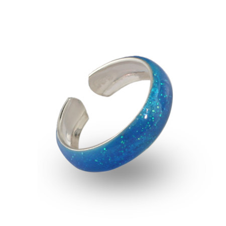 Blue Sparkle Sterling Silver Enamel Toe Ring