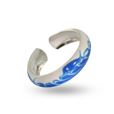 Blue Dolphin Sterling Silver Enamel Toe Ring