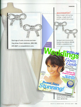 Gaby's Silver Tied CZ Bow Earrings