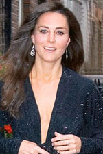Kate Middleton seems to love blue; she pairs this number with Sparkling Diamond CZ Chandelier earrings.