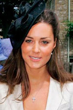 A Tiffany Style Simple CZ Cross looks great with Kate Middleton's sport jacket and black dress hat.