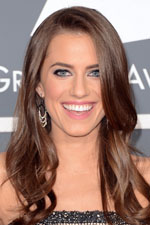 The Girls actress Allison Williams held her own in a strapless gown and beautiful chandelier earrings as she supported her friend Katy Perry at this year's Grammy Awards.
