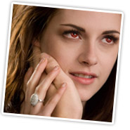 Kristen Stewart wearing Bella's Twilight Inspired Glistening Vampire CZ Engagement Ring