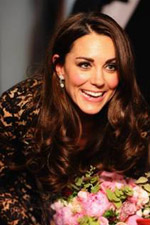 Dressed in an elegant lace dress, Kate Middleton pulls her outfit together with a beautiful pair of sparkling circle drop earrings. Get the Look at Eves!