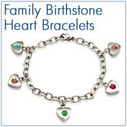Family Birthstone Heart Bracelets