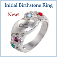 New! Initial Birthstone Ring