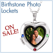 Birthstone Photo Heart Lockets