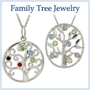 Custom Birthstone Family Tree Pendants