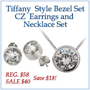 Sterling Silver Bezel Set CZ Earrings and Necklace Set!