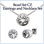 Sterling Silver Bezel Set CZ Earrings and Necklace Set