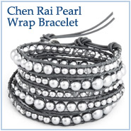 Chen Rai Graduated Grey Pearl and Glass Mix Wrap Bracelet