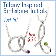 Tiffany Inspired Sterling Silver Birthstone Initial Necklace