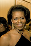 Michelle Obama in a styling black dress with Pave CZ Gold Chandelier Earrings