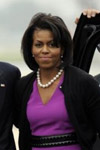 Michelle Obama wearing a beautiful white pearl necklace.  Steal the Style at Eves!